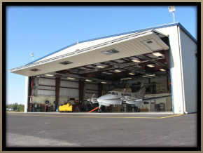 fold up garage door on this hangar